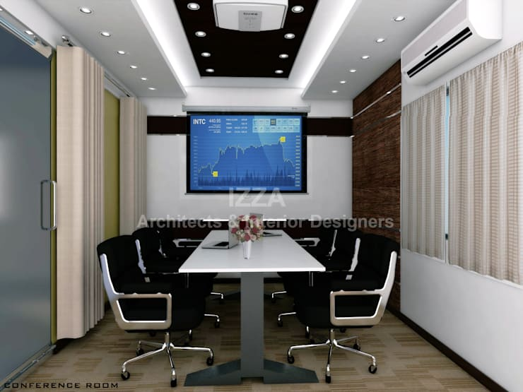 """Conference room: {:asian=>""""asian"""", :classic=>""""classic"""", :colonial=>""""colonial"""", :country=>""""country"""", :eclectic=>""""eclectic"""", :industrial=>""""industrial"""", :mediterranean=>""""mediterranean"""", :minimalist=>""""minimalist"""", :modern=>""""modern"""", :rustic=>""""rustic"""", :scandinavian=>""""scandinavian"""", :tropical=>""""tropical""""}  by Izza Architects & Interior designers,"""