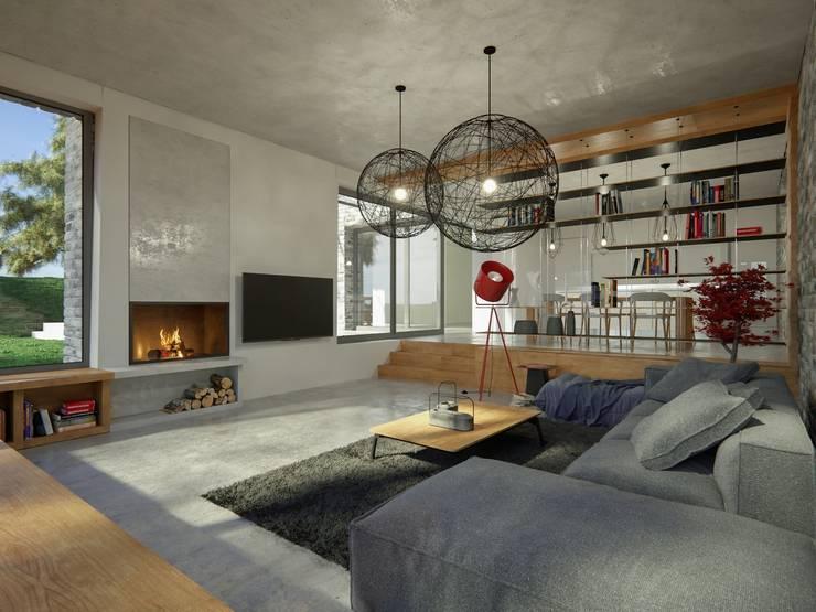 Wohnbereich:  Wohnzimmer von GRID architektur + design