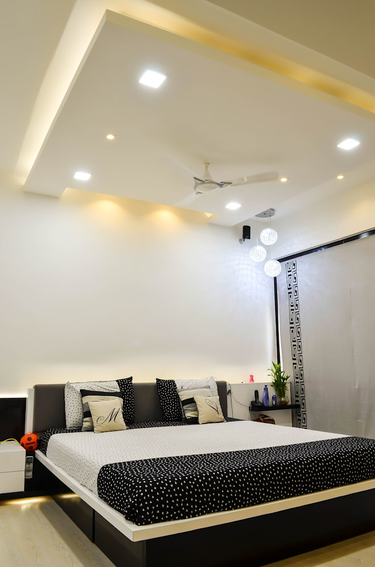 Interior For Mr. Shah:  Bedroom by Maulik Vyas Architects,Modern