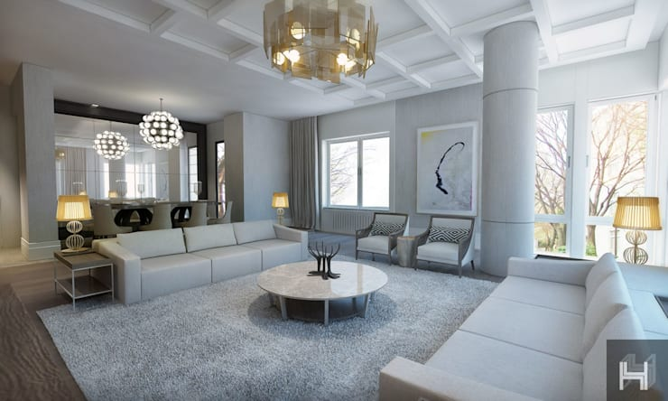 Projekty,  Salon zaprojektowane przez ÖZHAN HAZIRLAR İÇ MİMARLIK