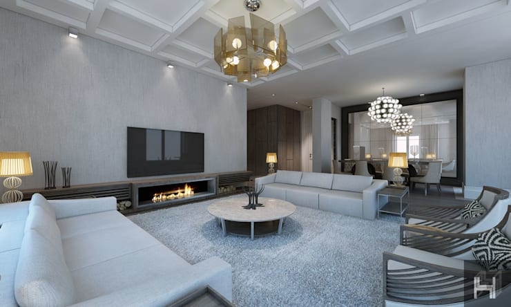 Living room by ÖZHAN HAZIRLAR İÇ MİMARLIK