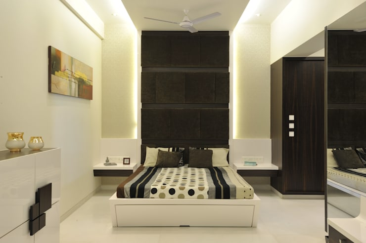 3 Bedroom Mumbai Residence:  Bedroom by Aum Architects