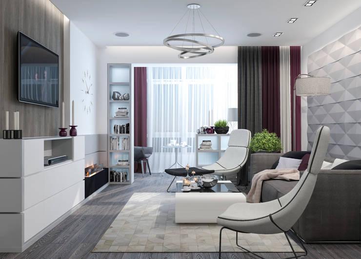 غرفة المعيشة تنفيذ Студия дизайна Дарьи Одарюк