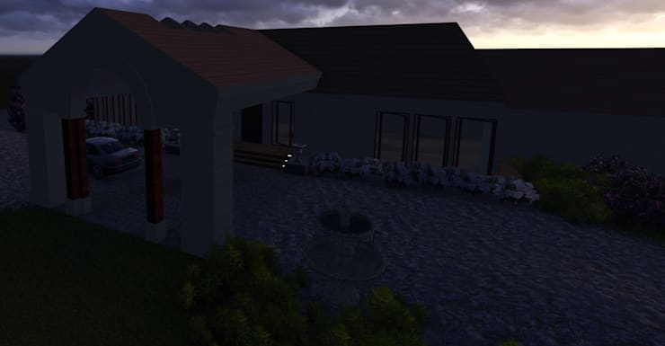 Night View.: modern Houses by The Lazy Owl Designs