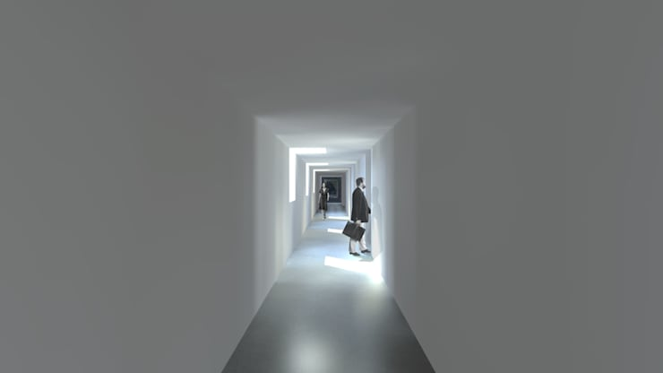 Casa Lamego: Corredores e halls de entrada  por Lousinha Arquitectos