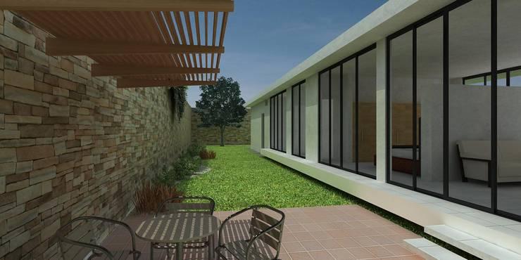 Fachada interna: Casas de estilo  por John Robles Arquitectos, Moderno