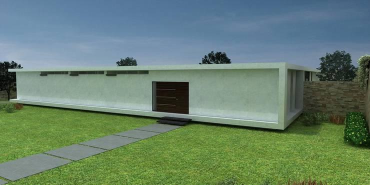 Fachada acceso: Casas de estilo  por John Robles Arquitectos, Moderno