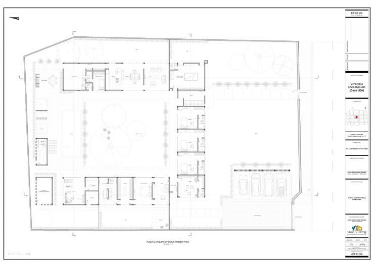Planta arquitectónica:  de estilo  por John Robles Arquitectos, Moderno