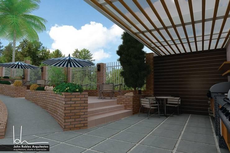 Terraza BBQ Iroka:  de estilo  por John Robles Arquitectos, Moderno