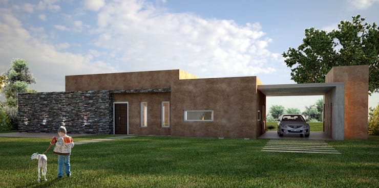 Imágenes 3D: Casas de estilo moderno por QBK Arquitectura