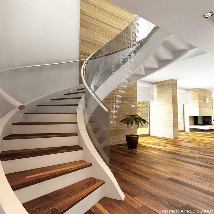 schody do salonu: styl , w kategorii Salon zaprojektowany przez A.P. RUD Schody