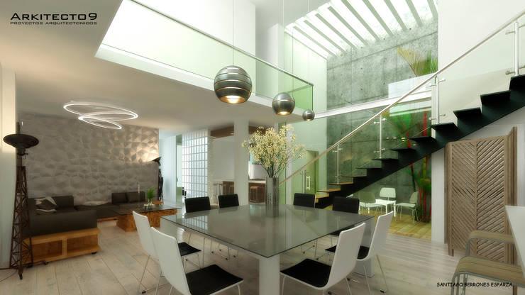 CASA MAGALLANES: Pasillos y recibidores de estilo  por arquitecto9.com