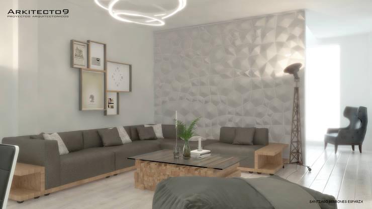 CASA MAGALLANES: Salas de estilo  por arquitecto9.com