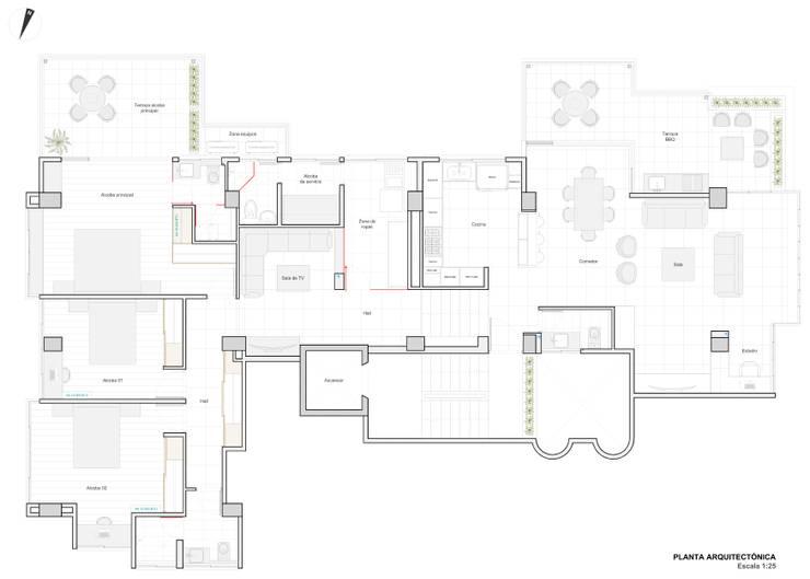 Diseño arquitectónico final de John Robles Arquitectos Moderno