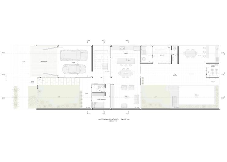 Planta arquitectónica primer piso:  de estilo  por John Robles Arquitectos