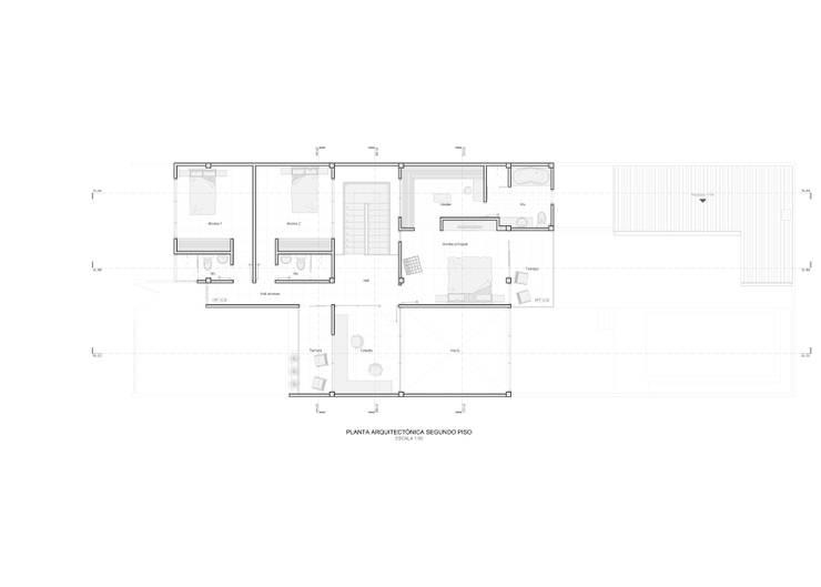 Planta arquitectónica segundo piso:  de estilo  por John Robles Arquitectos