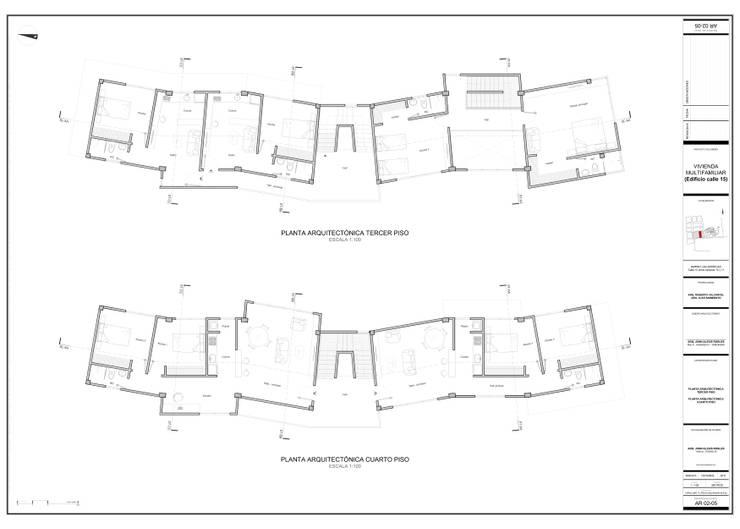Plantas arquitectónicas:  de estilo  por John Robles Arquitectos, Moderno