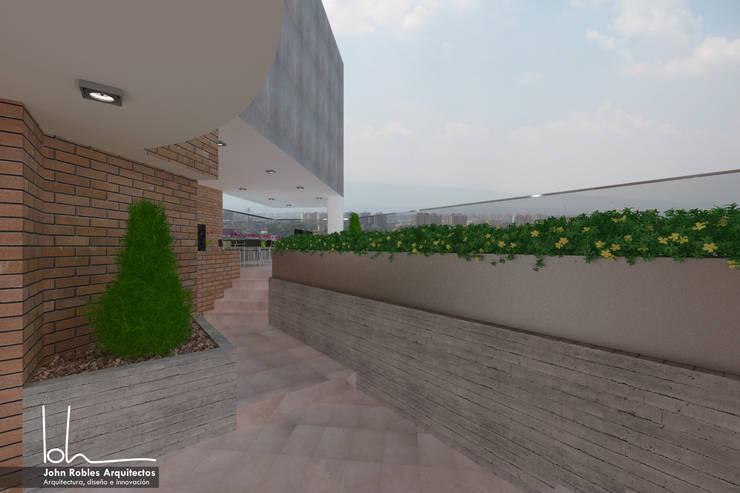 Terraza piscina Altaserra:  de estilo  por John Robles Arquitectos