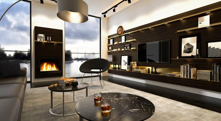 Wohnzimmer Wandgestaltung | Möbelentwurf Regalsystem INPIANO