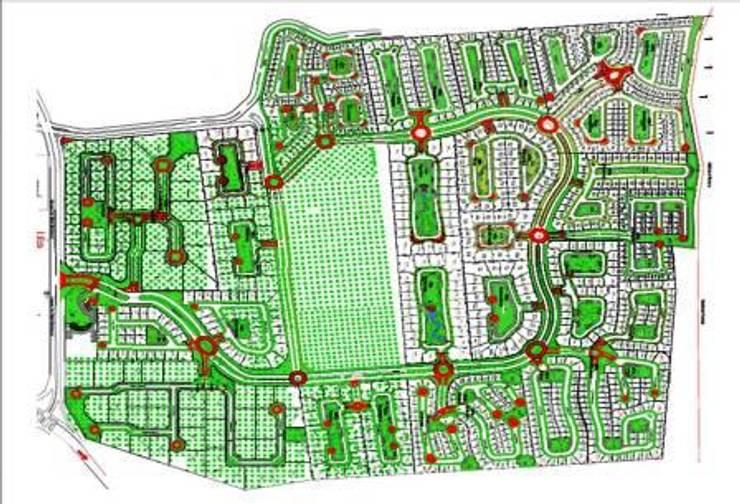DESARROLLO RESIDENCIAL: Jardines de estilo  por MARIO TALAMAS