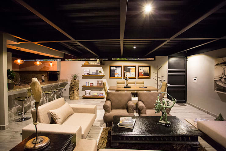 Casa Bunker : Salas de estilo  por Con Contenedores S.A. de C.V.