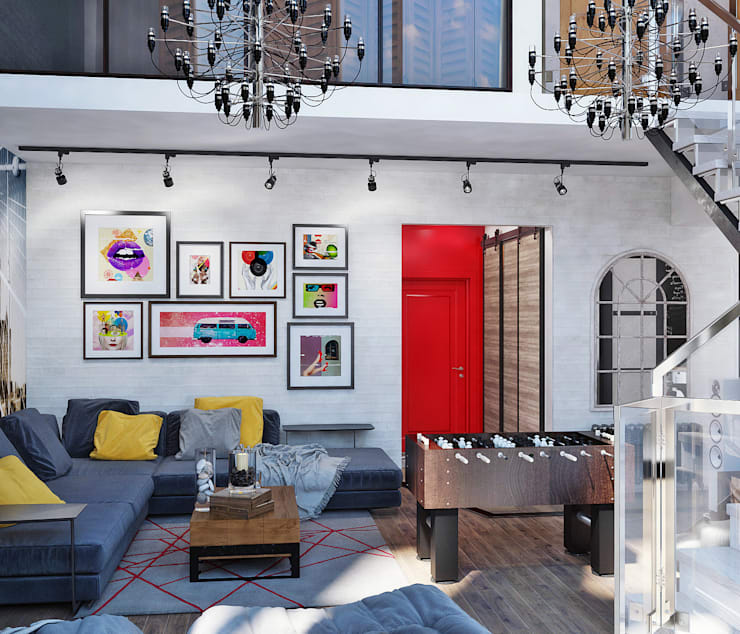 Salon de style de style Industriel par Студия дизайна Interior Design IDEAS
