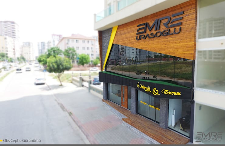 Emre Urasoğlu İç Mimarlık Tasarım Ltd.Şti. – Ofis Cephesi:  tarz Çalışma Odası, Modern Ahşap-Plastik Kompozit