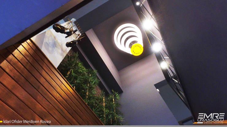 Emre Urasoğlu İç Mimarlık Tasarım Ltd.Şti. – Merdiven Kovası ve Aydınlatma :  tarz Çalışma Odası, Modern Ahşap-Plastik Kompozit