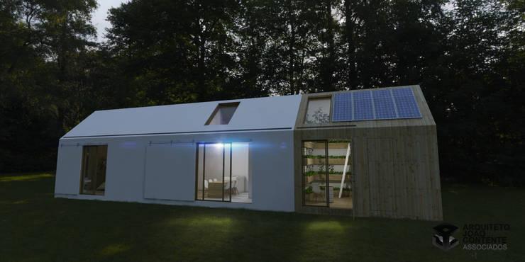 Arquiteto João Contente - Casa Simbiotica Noite:   por Arquiteto João Contente Associados