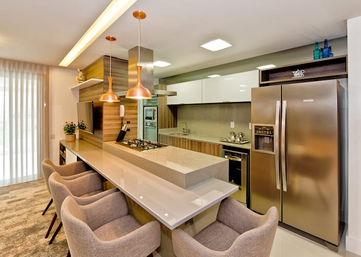 Cocinas de estilo  por Tatiana Junkes Arquitetura e Luminotécnica
