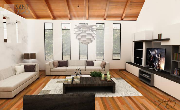 sala : Salas de estilo  por SANT1AGO arquitectura y diseño