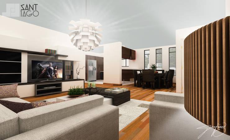 sala comedor: Salas de estilo  por SANT1AGO arquitectura y diseño