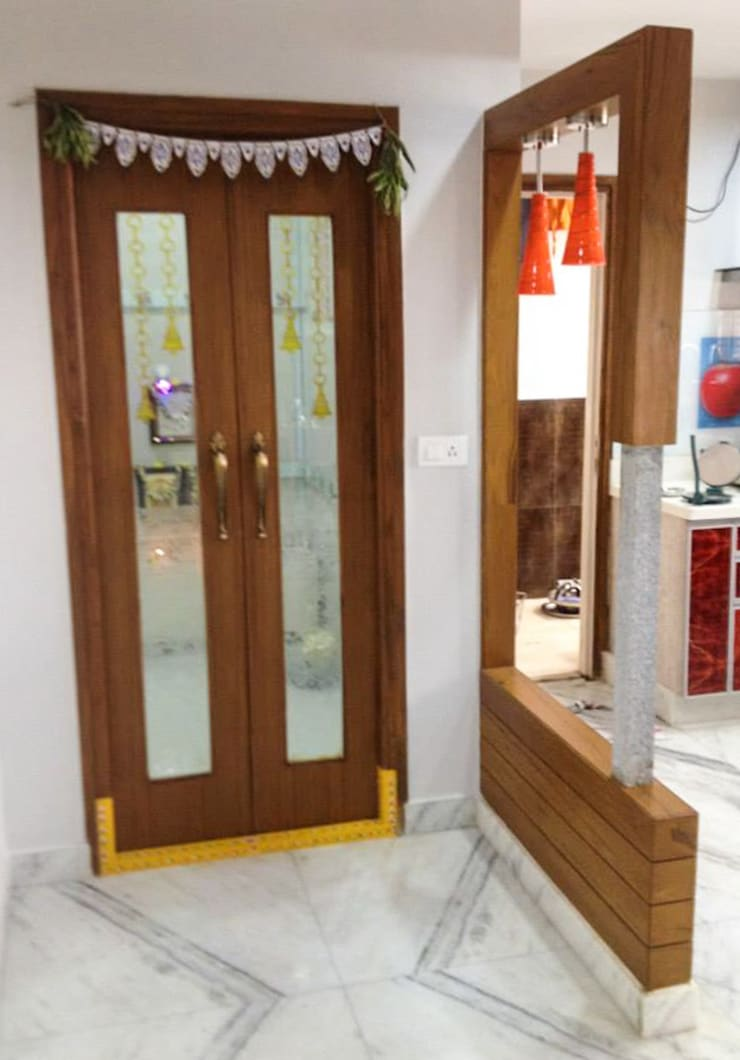 Puja Room Modern Corridor, Hallway and Staircase by Urban Shaastra Modern