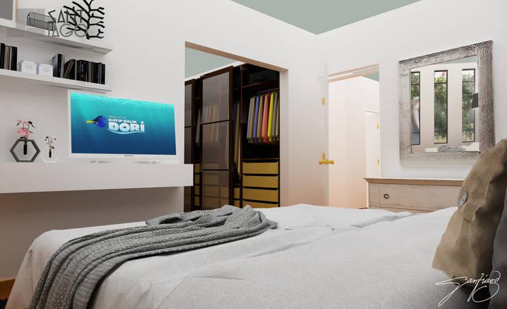 recamara principal: Recámaras de estilo  por SANT1AGO arquitectura y diseño