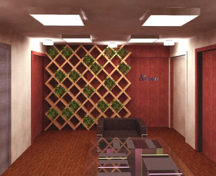 Lobby Olivo MX: Estudios y oficinas de estilo  por Perfil Arquitectónico