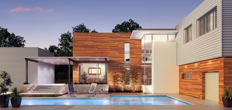 Render Exterior Atardecer:  de estilo  por Renders + Arquitectura,