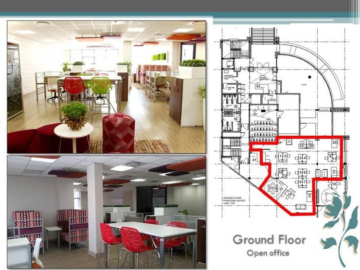 Makoya - Ground Floor - Open Offices:  Study/office by Carne Interiors, Modern