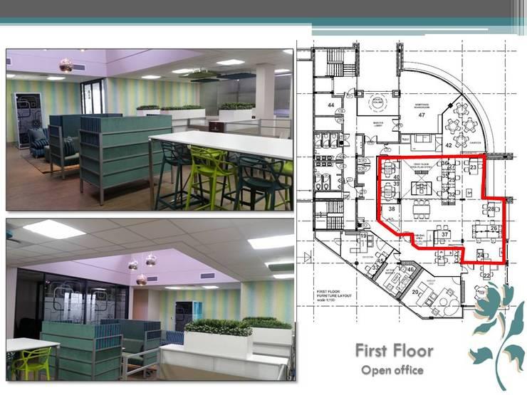 Makoya - First Floor - Open Offices:  Study/office by Carne Interiors, Modern