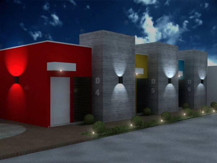 FACHADA DE LOS DEPARTAMENTOS PARA RENTA : Casas de estilo  por ARQ. GONZBAR
