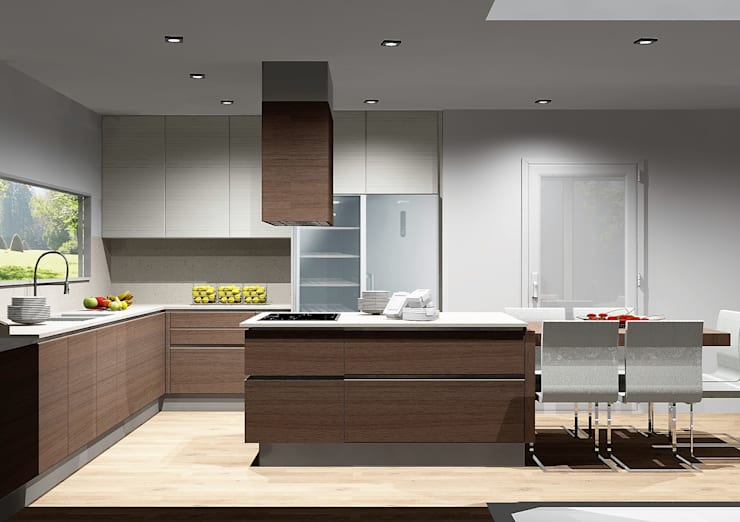 Cozinhas acolhedoras: Cozinhas  por Amplitude - Mobiliário lda