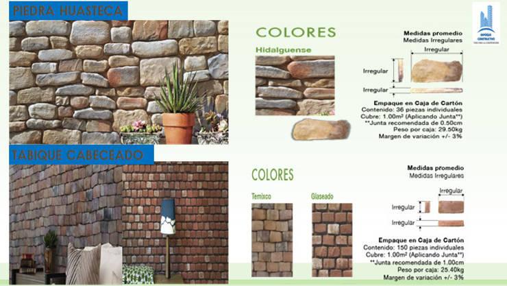 PIEDRA HUASTECA Y TABIQUE CABECEADO: Paredes y pisos de estilo  por ENFOQUE CONSTRUCTIVO