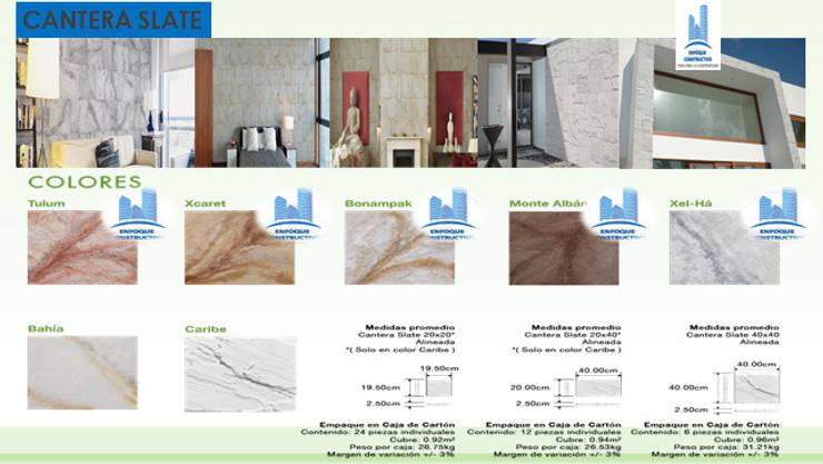 CANTERA SLATE: Paredes y pisos de estilo  por ENFOQUE CONSTRUCTIVO