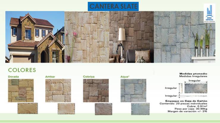 CANTERA SLATE CON BISEL: Paredes y pisos de estilo  por ENFOQUE CONSTRUCTIVO