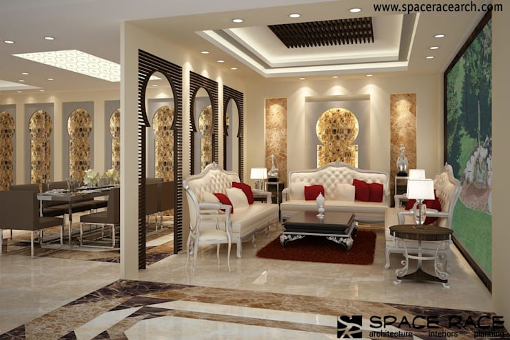 Residence at Lajpat Nagar Jalandhar (Bantu Sabhawal):  Living room by Spacerace