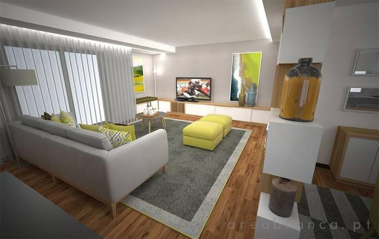 Sala e Cozinha DA: Salas de estar  por Areabranca