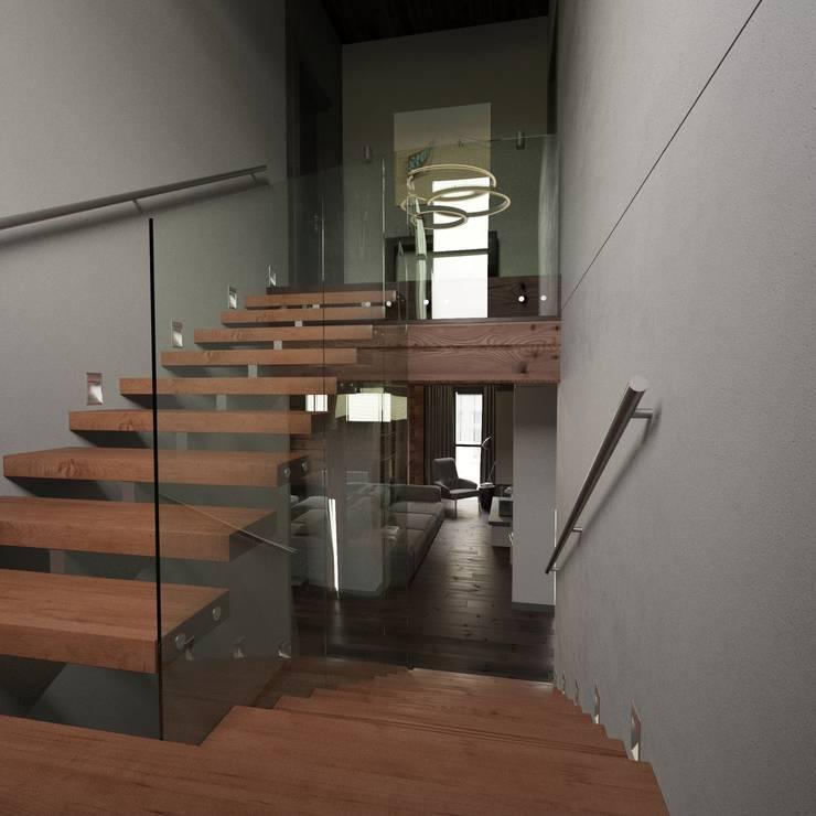 Минималистичный интерьер двухэтажного дома из клееного бруса для семейной пары: Коридор и прихожая в . Автор – EcoHouse Group
