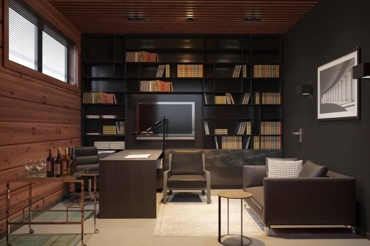Минималистичный интерьер двухэтажного дома из клееного бруса для семейной пары: Рабочие кабинеты в . Автор – EcoHouse Group
