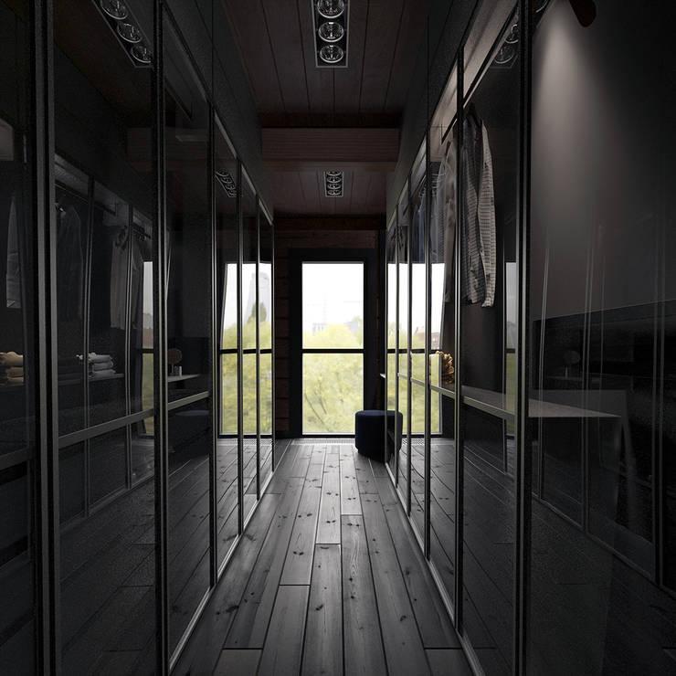 Минималистичный интерьер двухэтажного дома из клееного бруса для семейной пары: Гардеробные в . Автор – EcoHouse Group