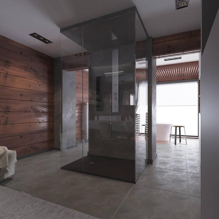Минималистичный интерьер двухэтажного дома из клееного бруса для семейной пары: Ванные комнаты в . Автор – EcoHouse Group