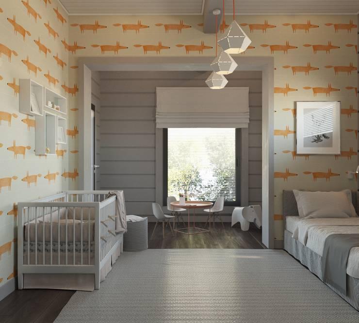 Минималистичный интерьер двухэтажного дома из клееного бруса для семейной пары: Детские комнаты в . Автор – EcoHouse Group